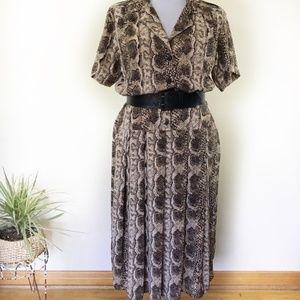 Vintage Christina Grant Snake Print Midi Dress